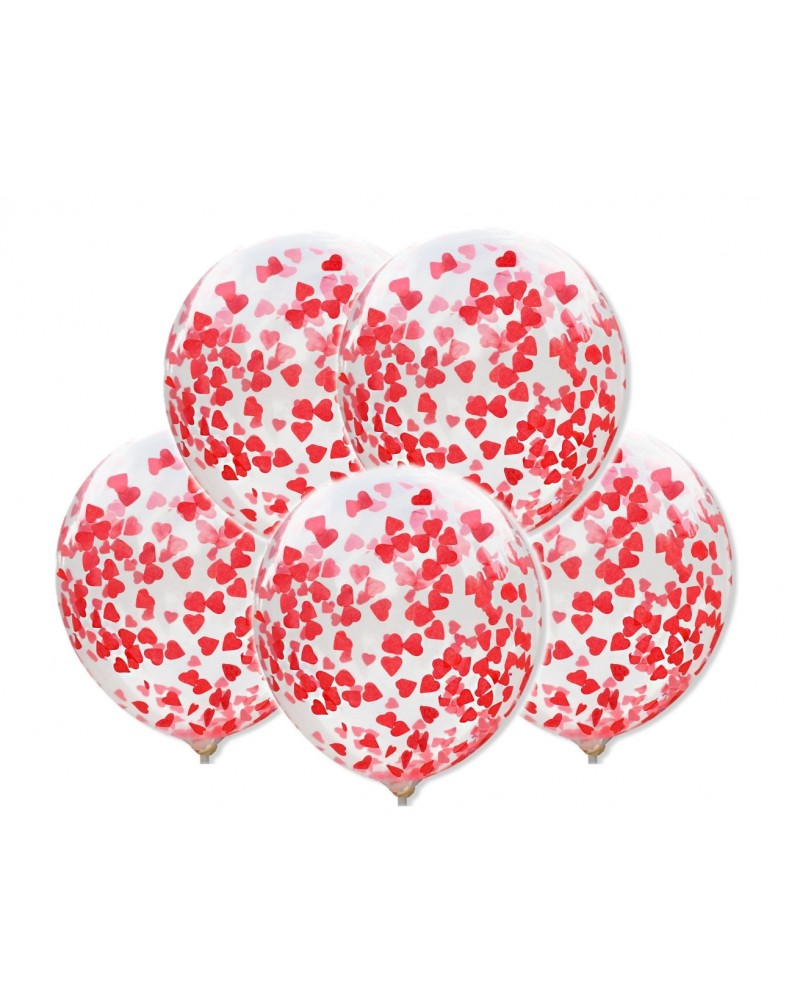 Balony z konfetti Czerwone serca