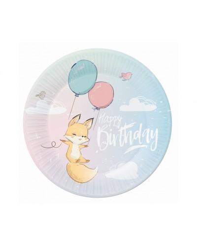 Talerzyki papierowe Happy Birthday Lisek