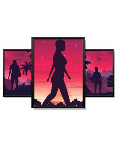Obrazy w Drewnianej Ramie 90x40cm Future Sunset