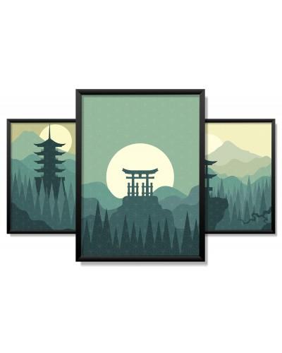 Obrazy w Drewnianej Ramie 90x40cm Green Japan