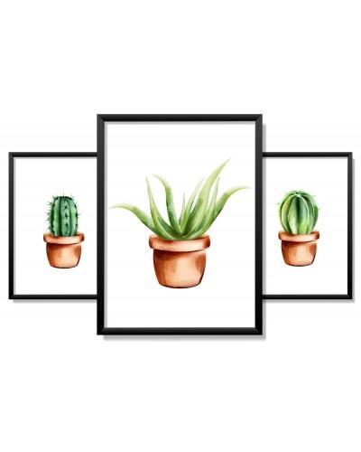 Obrazy w Drewnianej Ramie 90x40cm Kaktus