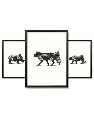 Obrazy w Drewnianej Ramie 90x40cm Mountain Animal