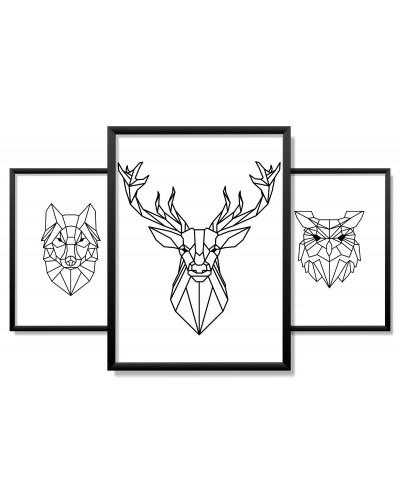 Obrazy w Drewnianej Ramie 90x40cm Polygonal Animal