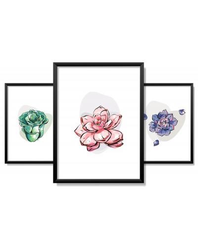 Obrazy w Drewnianej Ramie 90x40cm Pop Art Flower