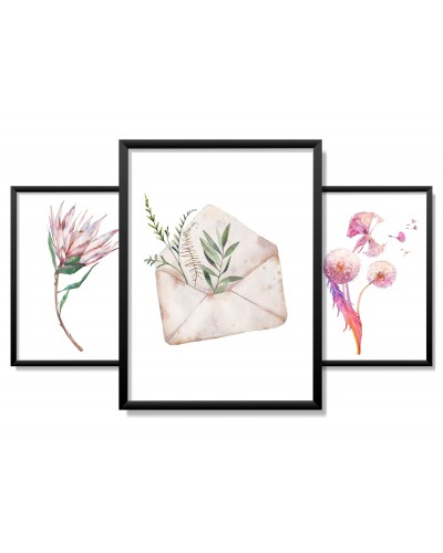 Obrazy w Drewnianej Ramie 90x40cm Romantic Flower