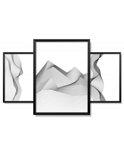 Obrazy w Drewnianej Ramie 90x40cm Seismic Wave