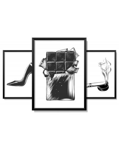 Obrazy w Drewnianej Ramie 90x40cm Sketch Lady Set