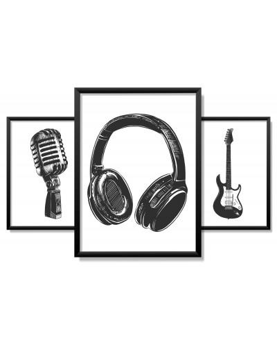 Obrazy w Drewnianej Ramie 90x40cm Sketch Music Set