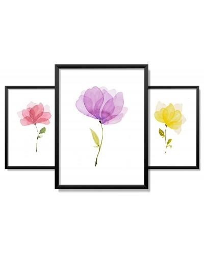 Obrazy w Drewnianej Ramie 90x40cm Tricolor Flower