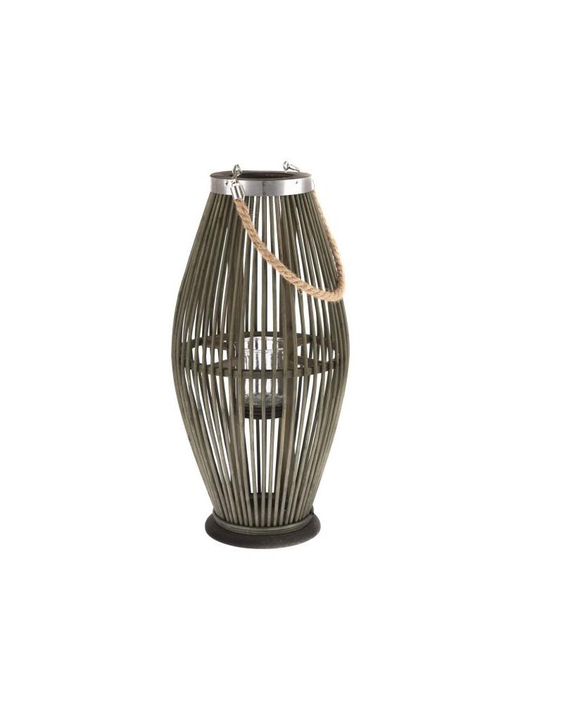 Lampion Bambusowy Szklany Świecznik Butelkowa Zieleń