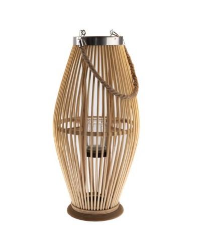 Lampion Bambusowy Szklany Świecznik Naturalny 59cm