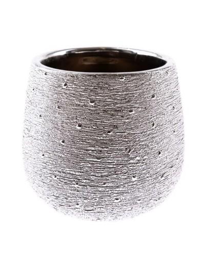 Doniczka Ceramiczna w Kolorze Srebrnym Glamour