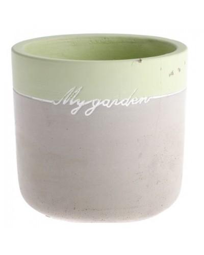 Doniczka Cementowa Zielona Wstawka Mygarden