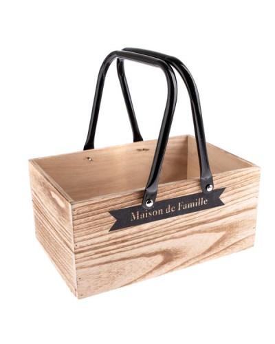 Drewniana Skrzynka z Metalowymi Uchwytami Brązowa