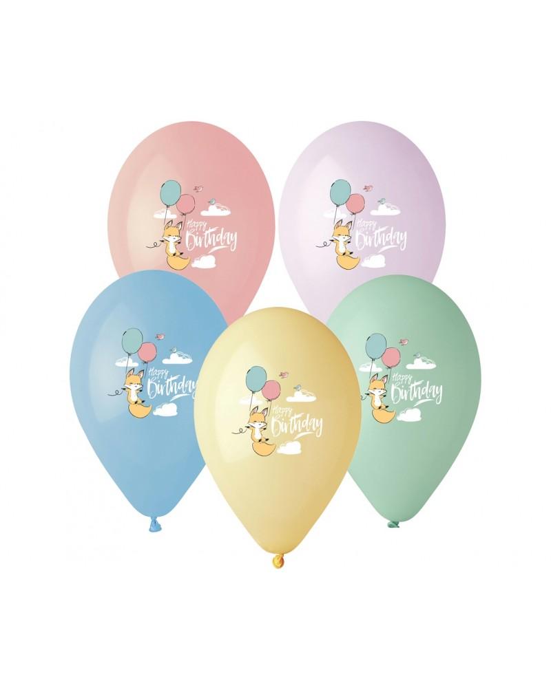 Balony lateksowe Happy Birthday Lisek