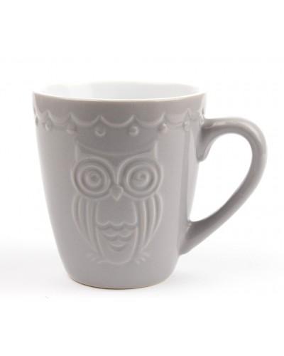 Kubek Ceramiczny Sowa w Kolorze Szarym