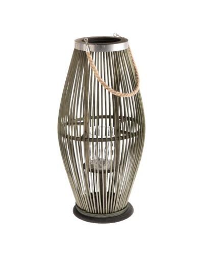 Lampion Bambusowy Szklany Świecznik Butelkowa Zieleń 50cm