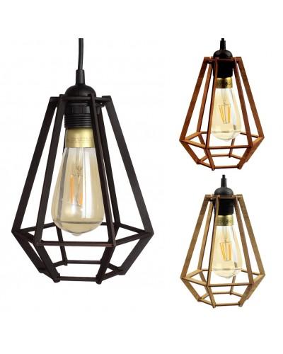 Lampa Sufitowa Wisząca Drewniana Model Diament 1