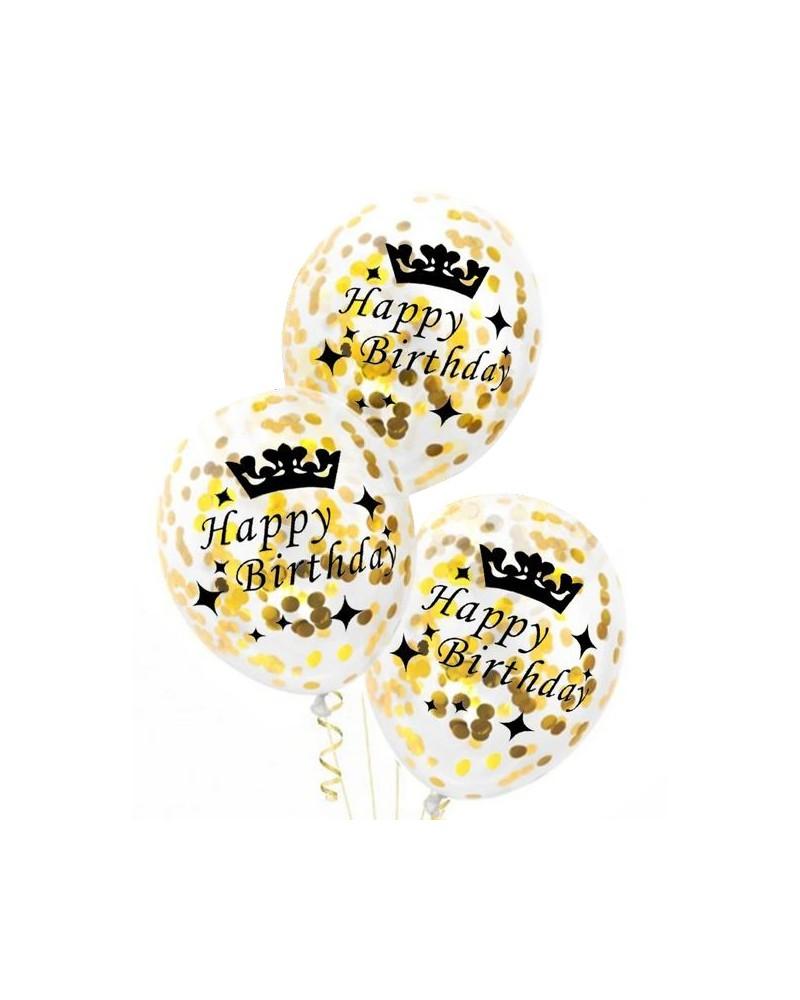 Balony Ze Złotym Konfetti Napis Happy Birthday
