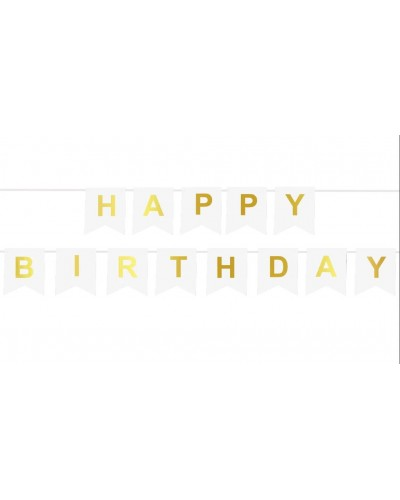 Girlanda- Baner Happy Birthday białe flagi
