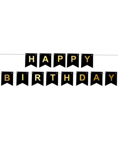 Girlanda Happy Birthday czarne flagi
