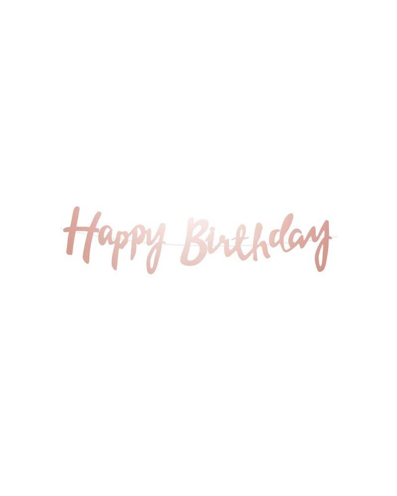 Girlanda lustrzana Happy Birthday rose gold