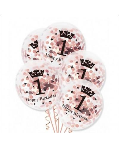 Balony z konfetti na roczek rose gold