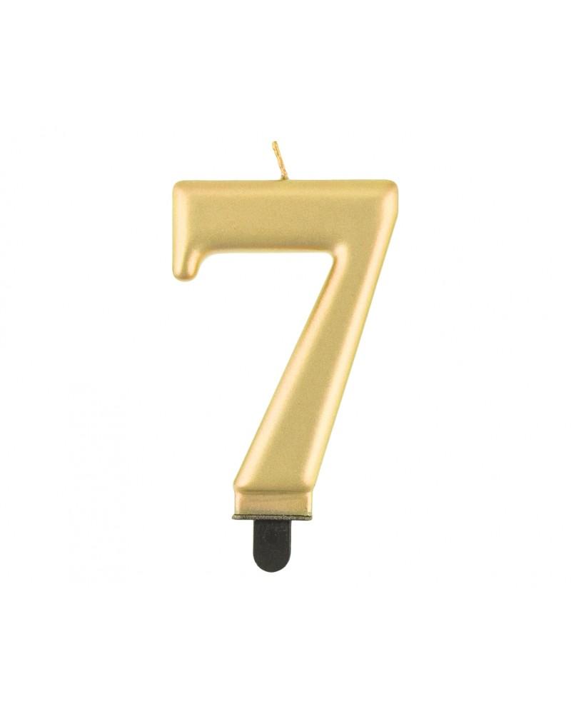 Świeczka urodzinowa złota matowa 7