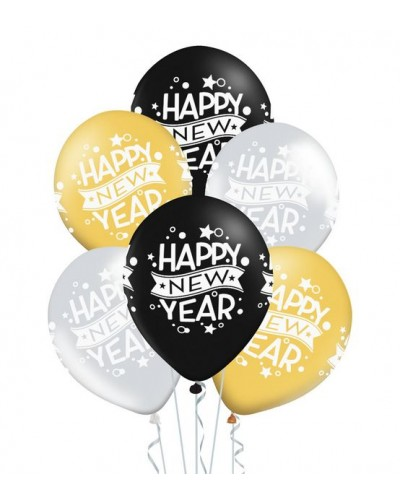"Balony Happy New Year Mix 12"" 6 szt."
