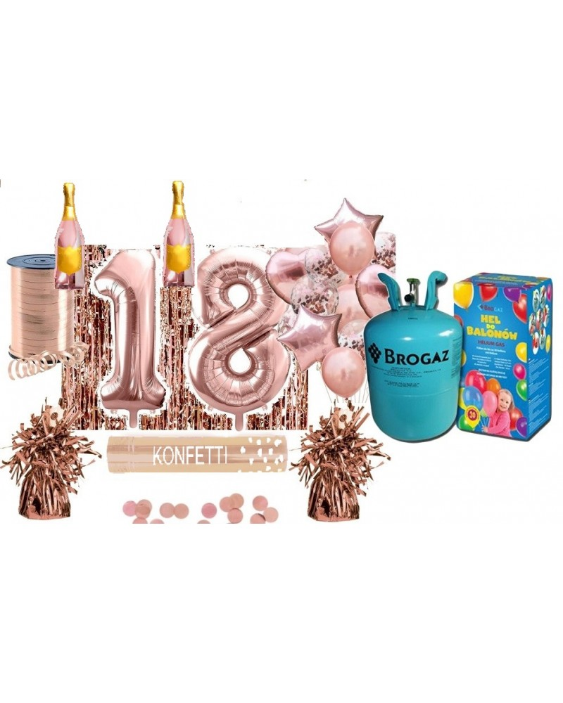 Zestaw na 18 urodziny Rose Gold Butla Hel