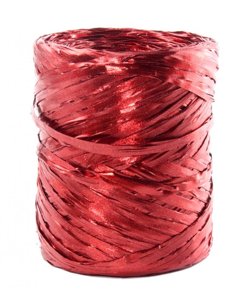 Rafia w rolce czerwona metalizowana 200m