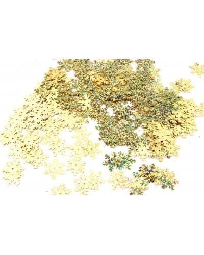 Cekiny Śnieżynki Mieniące Złote 15g 20mm