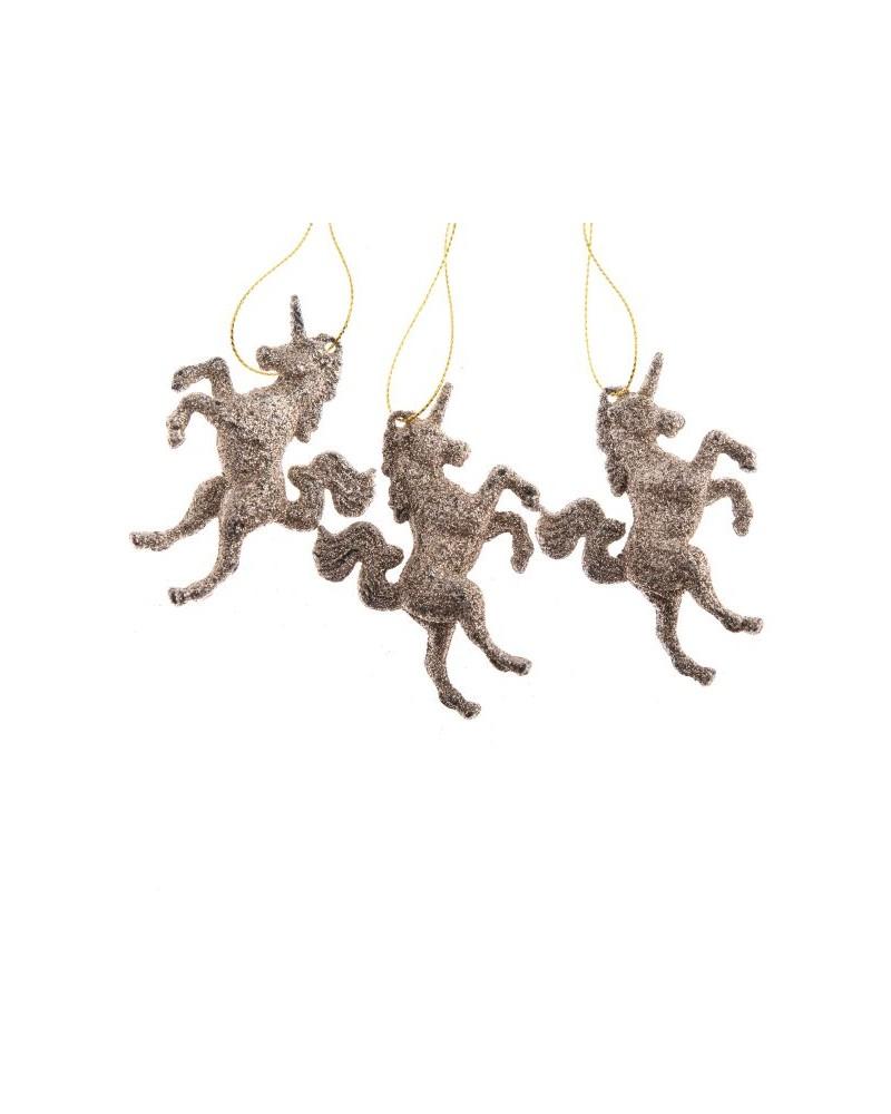 Zawieszki jednorożec - 3 sztuki, złote
