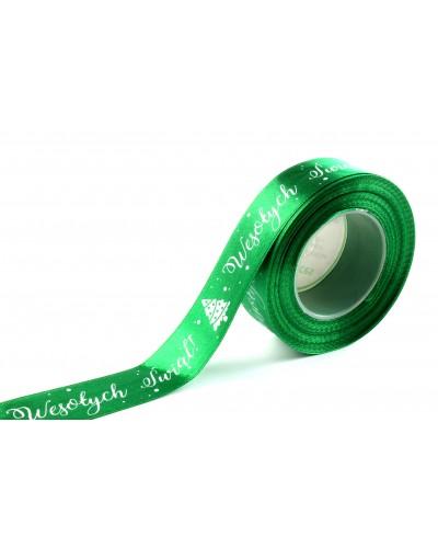 Wstążka Satynowa Wesołych Świąt 25mm Zielona
