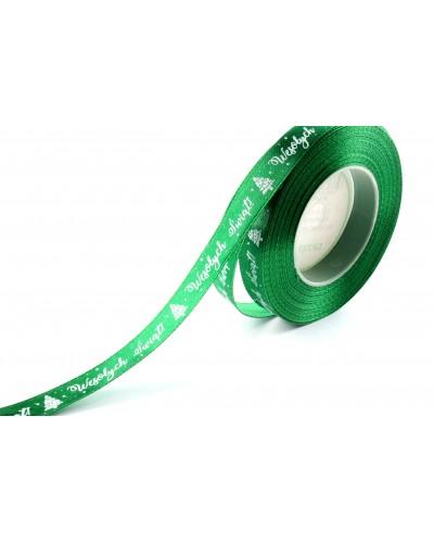 Wstążka Satynowa Wesołych Świąt 12mm Zielona
