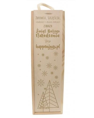 Pudełko-Skrzynka Na Wino Z Grawerem Na Prezent Świąteczny