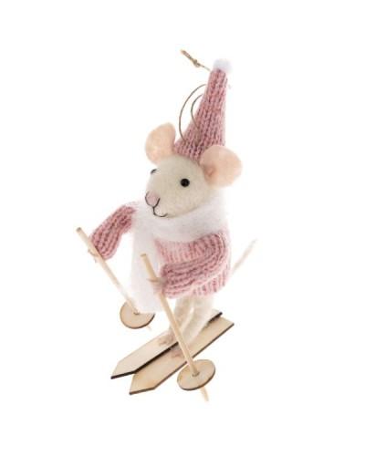 Myszka Na Nartach Dekoracja Świąteczna Rózowa