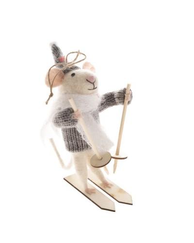 Myszka Na Nartach Dekoracja Świąteczna Szara