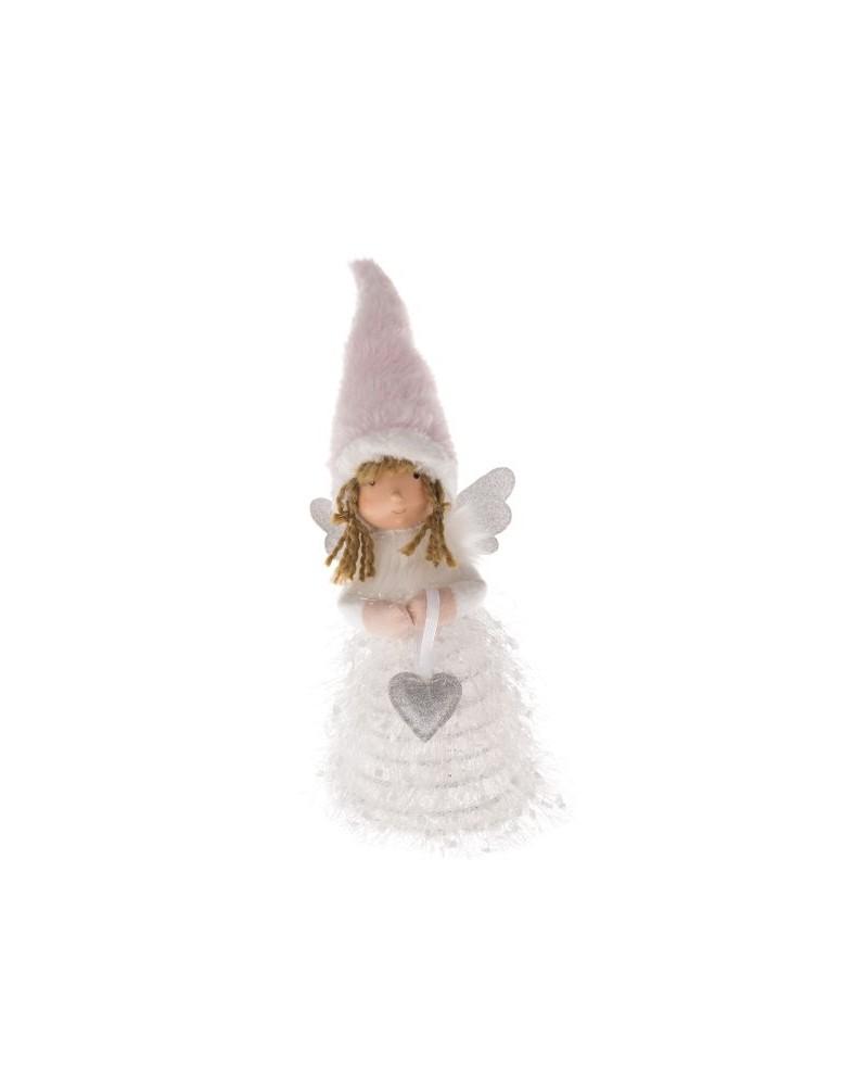 Anioł Biały LED Dziewczynka z serduszkiem