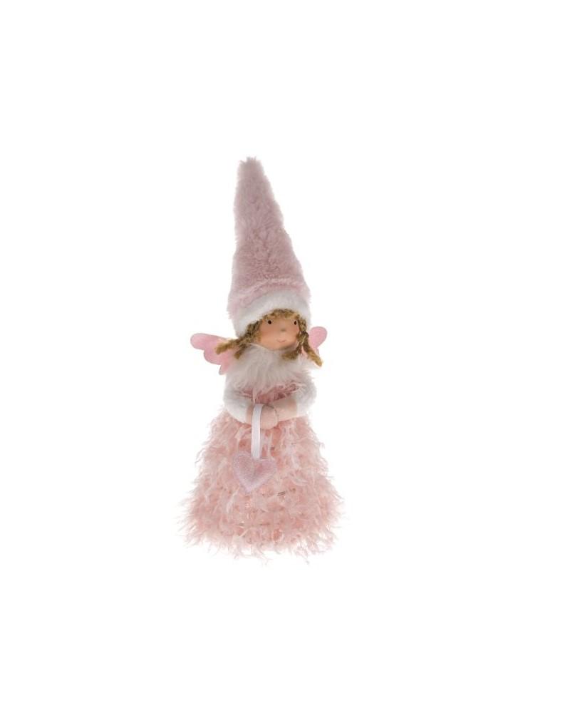 Anioł J.różowy LED Dziewczynka z serduszkiem