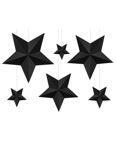Gwiazdy Dekoracyjne Papierowe 6 szt. Czarne