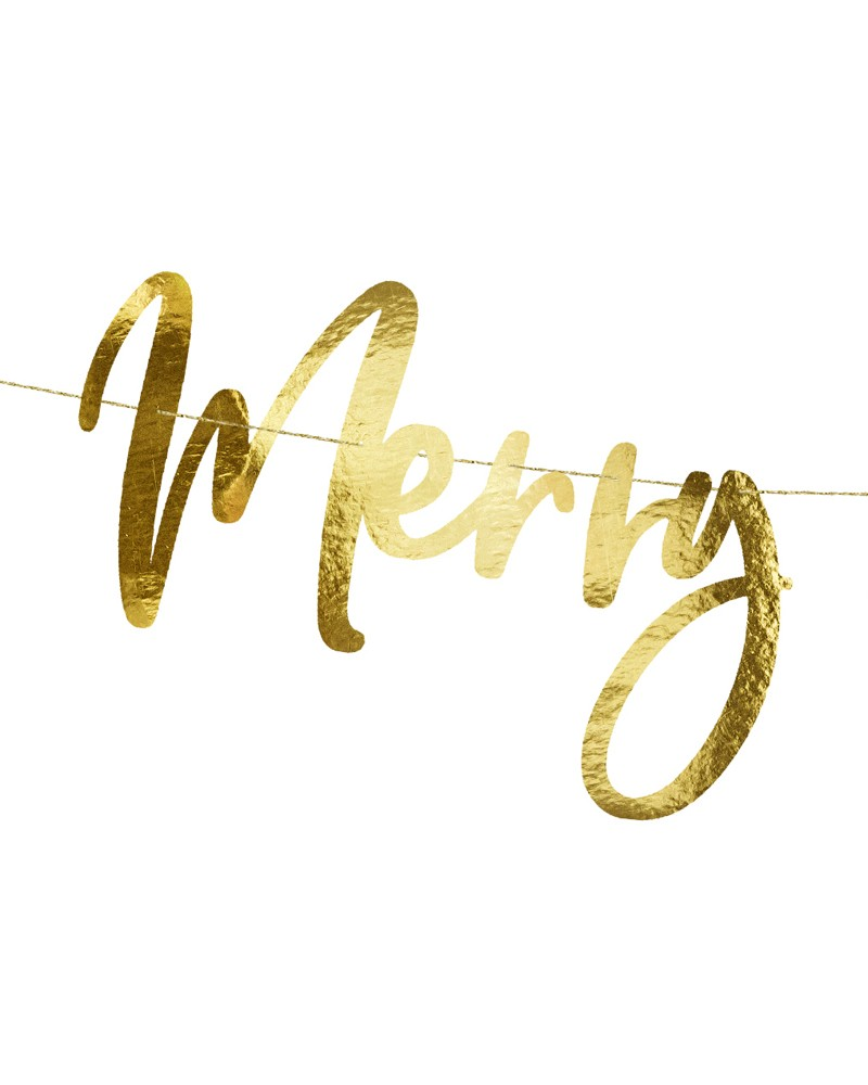 Baner Merry Christmas Złoty 83cm