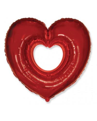 """Balon foliowy """"SERCE"""" Otwarte Na Walentynki"""