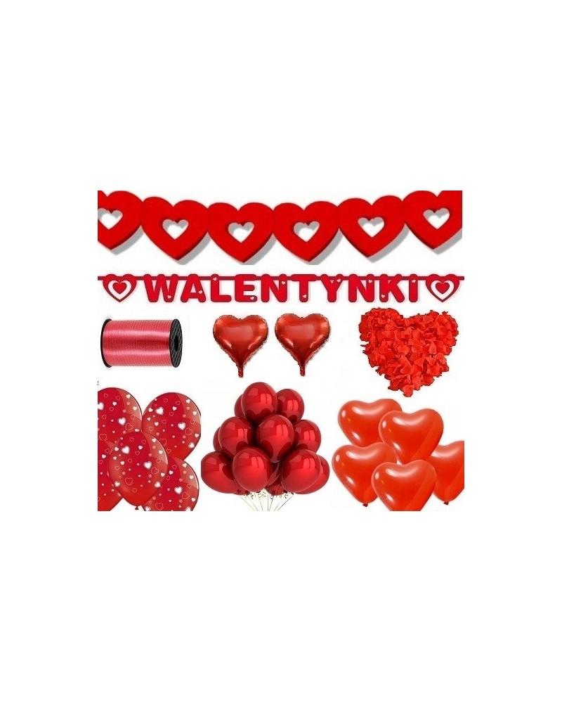 Zestaw na Walentynki Balony Konfetti Banery