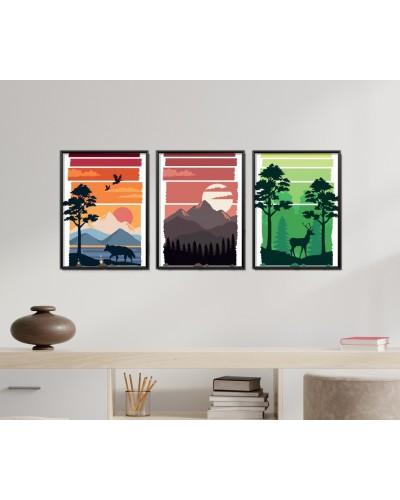 Obrazy w Drewnianej Ramie 90x40cm Wild Nature