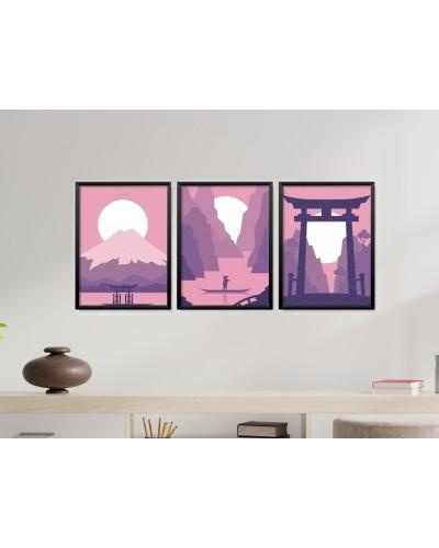 Obrazy w Drewnianej Ramie 90x40cm Violet Asia
