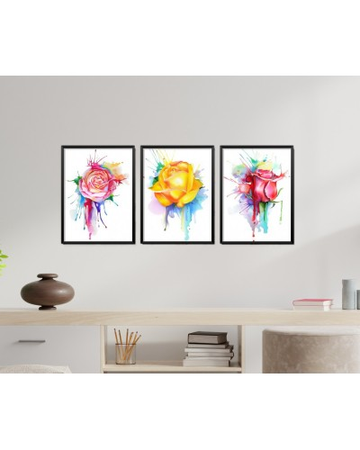 Obrazy w Drewnianej Ramie 90x40cm Splash Flower