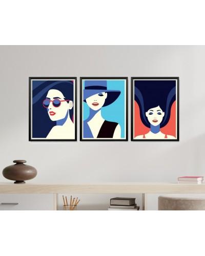 Obrazy w Drewnianej Ramie 90x40cm Modern Woman