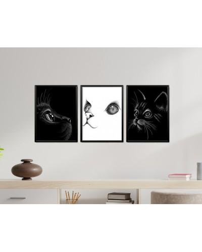 Obrazy w Drewnianej Ramie 90x40cm Koty