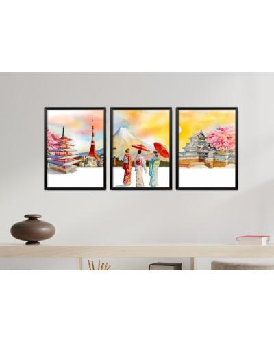 Obrazy w Drewnianej Ramie 90x40cm Japan Daylight